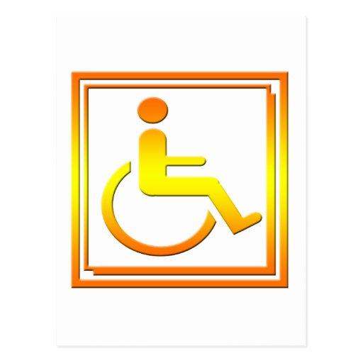 Handicapped Stylish Symbol Yellow Orange Postcards
