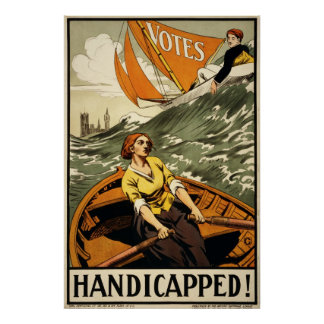 Handicapped Vintage Suffrage Propaganda Poster