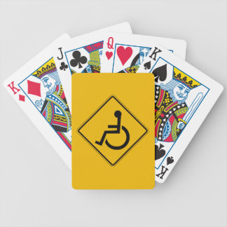 Handicapped Warning, Traffic Warning Sign, USA Bicycle Playing Cards