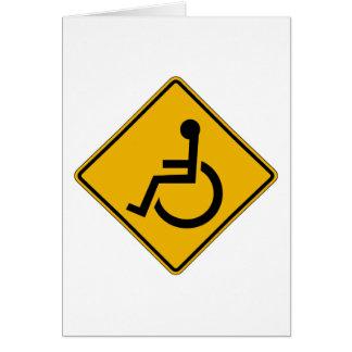 Handicapped Warning, Traffic Warning Sign, USA Card