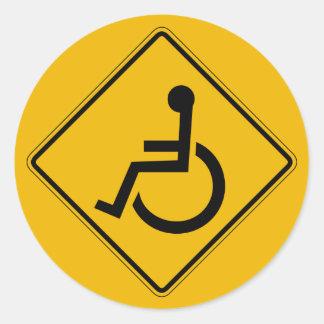 Handicapped Warning, Traffic Warning Sign, USA Classic Round Sticker