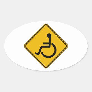 Handicapped Warning, Traffic Warning Sign, USA Oval Sticker