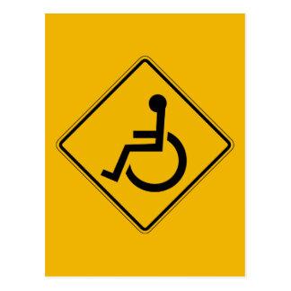 Handicapped Warning, Traffic Warning Sign, USA Postcard
