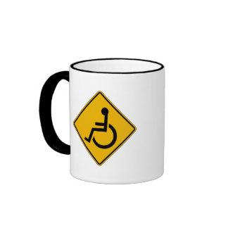 Handicapped Warning, Traffic Warning Sign, USA Ringer Mug