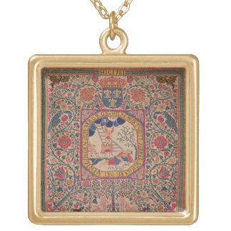 Handknitted carpet depicting Jacob's dream, Alsace Square Pendant Necklace