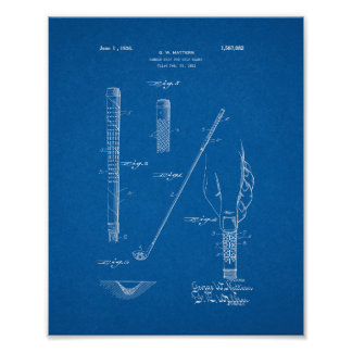 Handle Grip For Golf Clubs Patent - Blueprint Poster