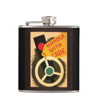 Handle With Care 1943 Art Hip Flasks
