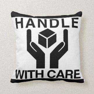 Handle With Care Basic Black Logo Throw Pillows