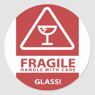 Handle with care classic round sticker