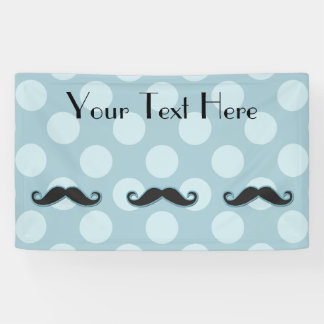 Handlebar Moustache, Polka Dots - Black Blue Banner