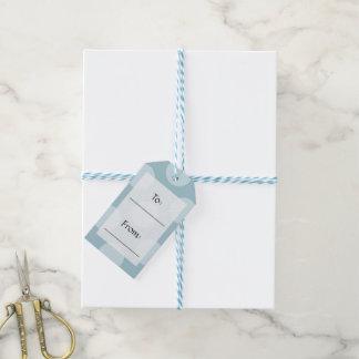 Handlebar Moustache, Polka Dots - Black Blue Gift Tags