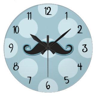 Handlebar Moustache, Polka Dots - Black Blue Large Clock