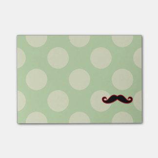 Handlebar Moustache, Polka Dots - Black Green Red Post-it® Notes