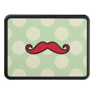 Handlebar Moustache, Polka Dots - Black Green Red Tow Hitch Cover