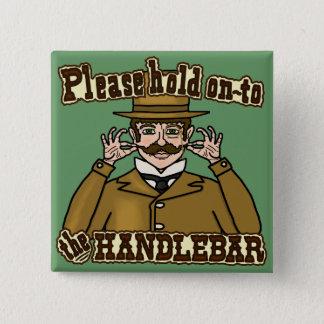 Handlebar Mustache Gentleman Button