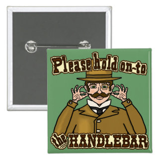Handlebar Mustache Gentleman Pinback Button