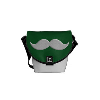 Handlebar Mustache Moustache on Green Background Courier Bag