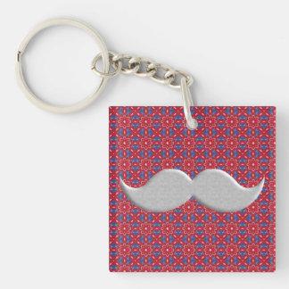 Handlebar Mustache Moustache on Red Pattern Acrylic Keychain