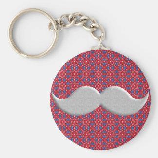 Handlebar Mustache Moustache on Red Pattern Key Chains