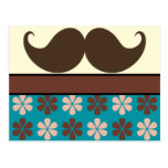 Handlebar Mustache on Retro Background Postcard
