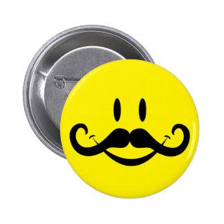Handlebar Mustache Smiley Pinback Button
