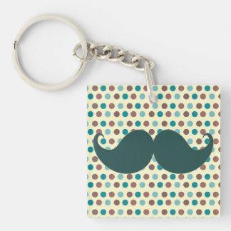 Handlebar Retro Mustache Moustache Stache Square Acrylic Key Chain
