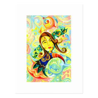 Handmade Abstract Painting of Cute Girl Postcard