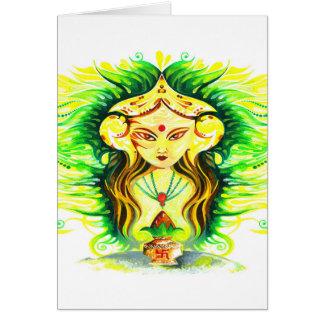 Handmade Abstract Painting of Lakshmi Durga Card