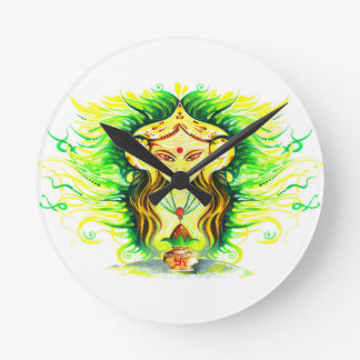 Handmade Abstract Painting of Lakshmi Durga Round Clock
