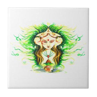 Handmade Abstract Painting of Lakshmi Durga Tile