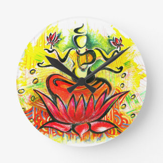 Handmade Abstract Painting of Lakshmi Maa Round Clock