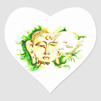 Handmade Abstract Painting of Lord Buddha Heart Sticker