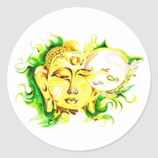 Handmade Abstract Painting of Lord Buddha on mug Classic Round Sticker