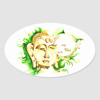 Handmade Abstract Painting of Lord Buddha Oval Sticker