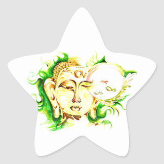Handmade Abstract Painting of Lord Buddha Star Sticker