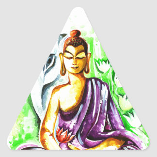 Handmade Abstract Painting of Lord Buddha Triangle Sticker