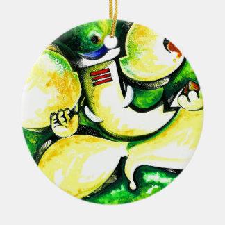 Handmade Abstract Painting of Lord Ganesha Ceramic Ornament