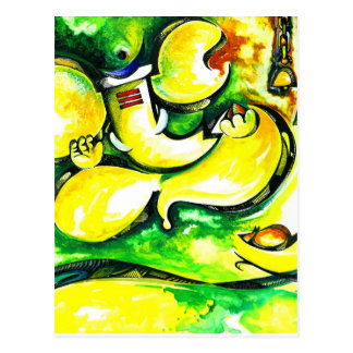 Handmade Abstract Painting of Lord Ganesha Postcard
