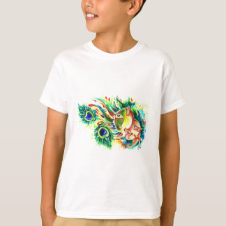 Handmade Abstract Painting of Lord Krishna and God T-Shirt