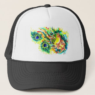 Handmade Abstract Painting of Lord Krishna and God Trucker Hat