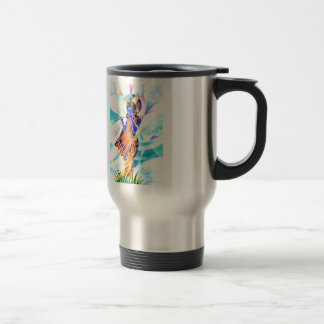 Handmade Abstract Painting of Lord Krishna with fl Travel Mug