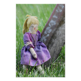 Handmade Antique Doll with Old Purple Dress Posters