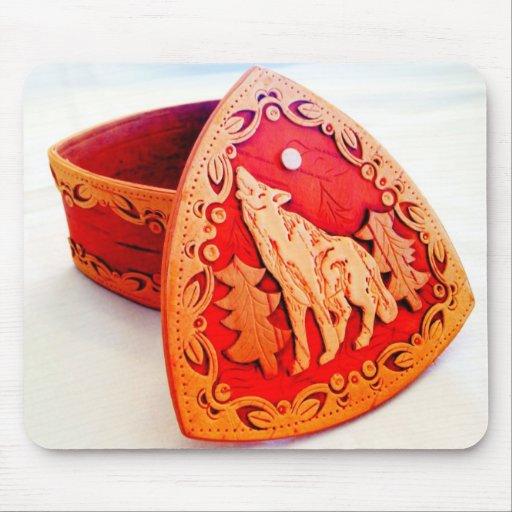 Handmade Birch Wood Jewelry Box with Howling Wolf Mousepads
