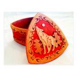 Handmade Birch Wood Jewelry Box with Howling Wolf Postcard