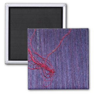 Handmade Blue Thai Silk With Red Thread Magnet
