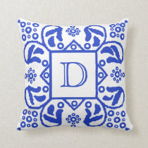 Handmade Blue White Custom Monogram Throw Pillow