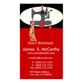 Handmade Boutique  Quilted Antique Sewing Machine Business Card