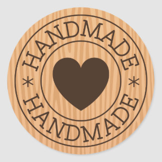 Handmade, brown stamp with heart on wood design classic round sticker