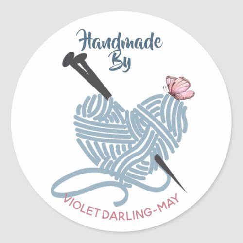 Handmade by Custom Name _ Knitting Yarn Crafters Classic Round Sticker