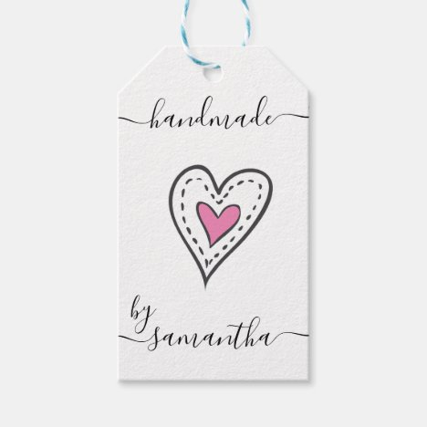 Handmade by Custom Name with Care Instructions Gift Tags